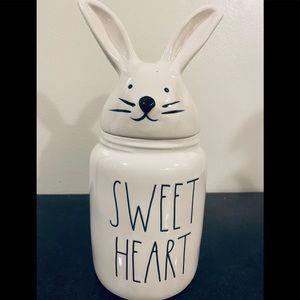 New Rae Dunn Sweet Heart canister wBunny head